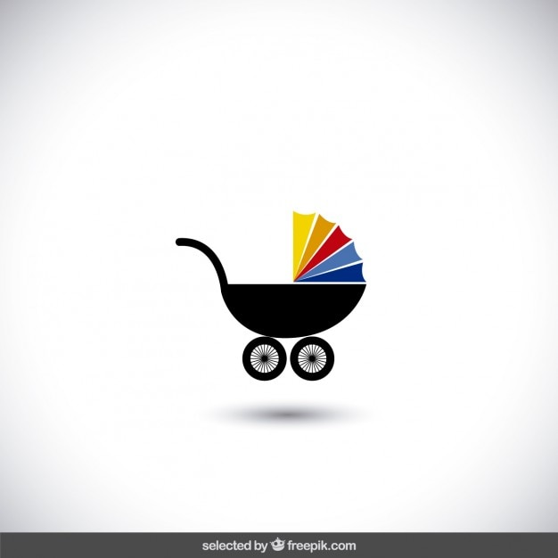 Baby stroller icon Free Vector