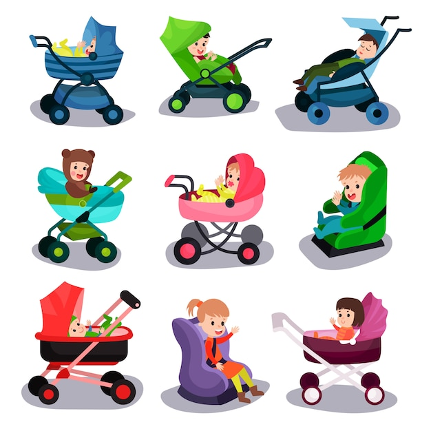 Baby strollers and car seats set, safety transporting of small children with comfort cartoon   illus