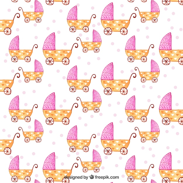 Baby strollers pattern Free Vector