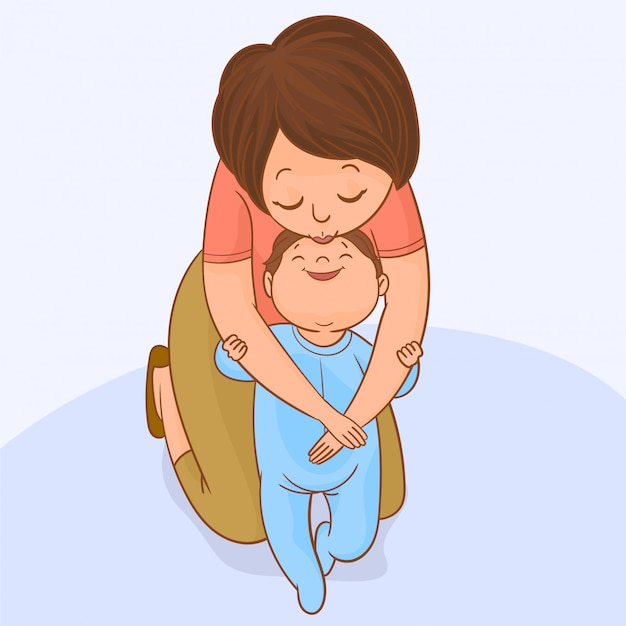 Baby taking first steps with mother's help Premium Vector