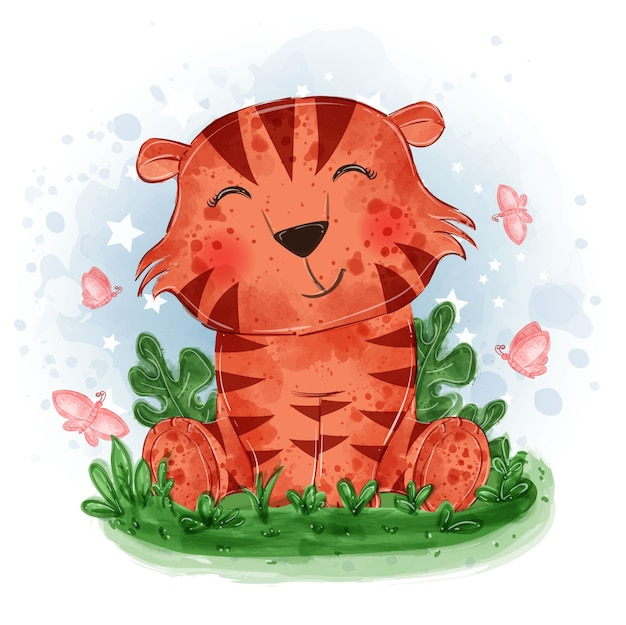 Baby tiger cute illustration sit down on the grass with butterfly Free Vector