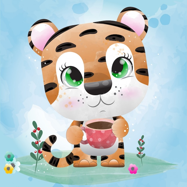 Baby tiger is a cute character painted with watercolor. Premium Vector