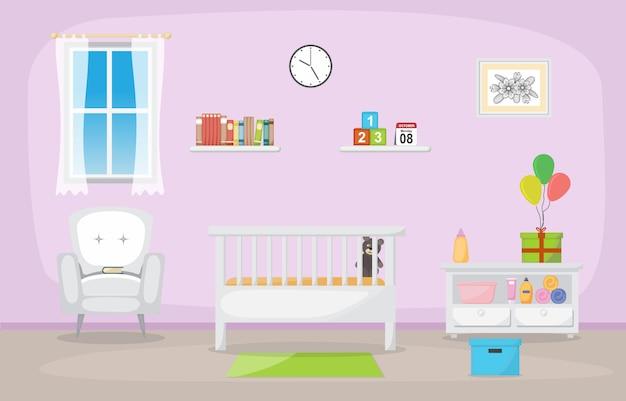 Baby toddler children bedroom interior room furniture Premium Vector