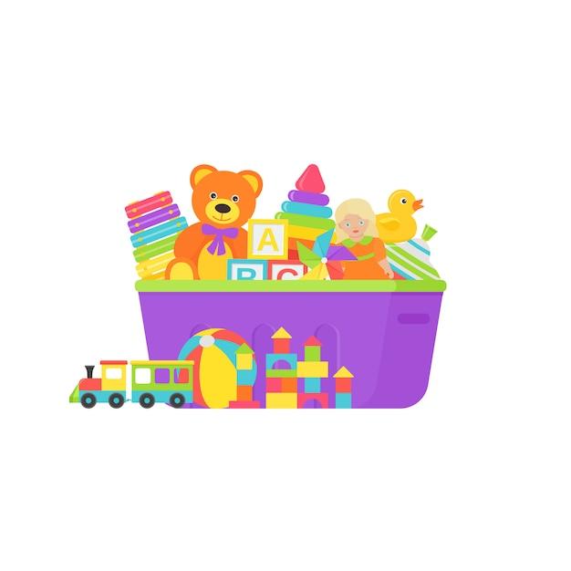ボックスの赤ちゃんのおもちゃ。フラットなデザインのイラスト。 Premiumベクター