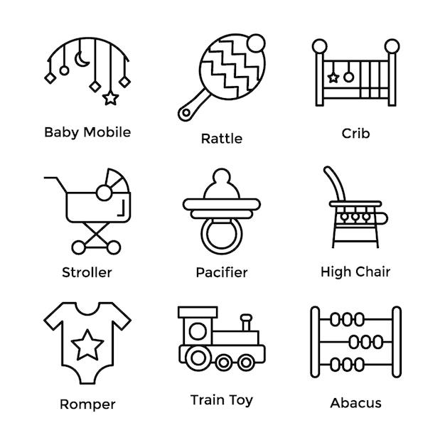 Baby toys line icons set Premium Vector
