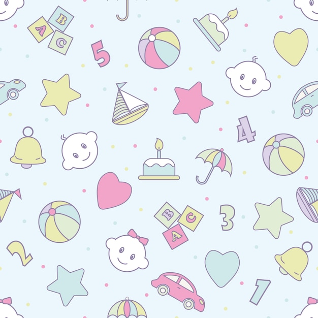 Baby toys seamless pattern.can be used for textiles, paper Premium Vector
