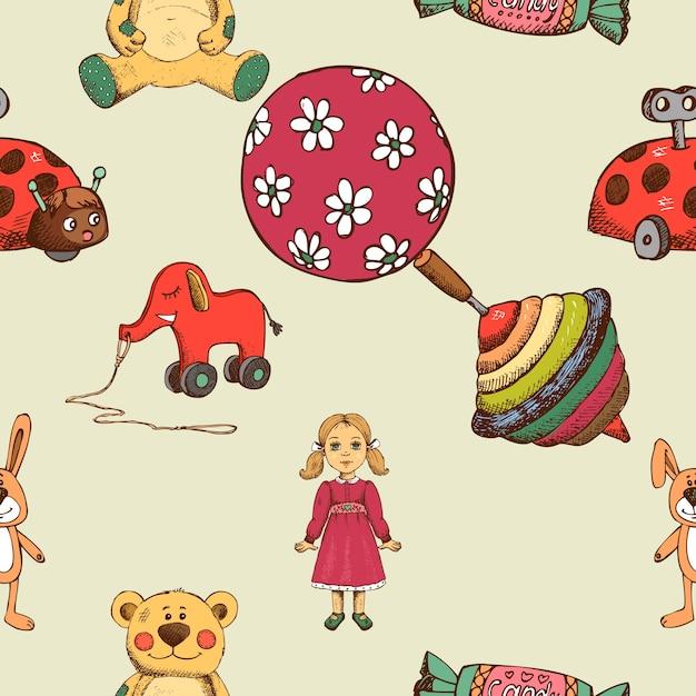Modello senza cuciture di giocattoli per bambini, trottola ed elefante e bambola. Vettore gratuito
