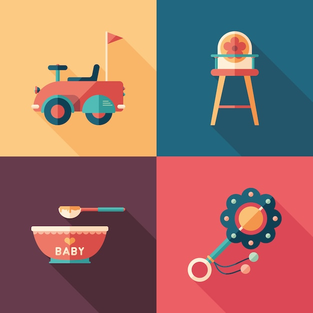 Baby toys set of isometric square icons with long shadows. Premium Vector