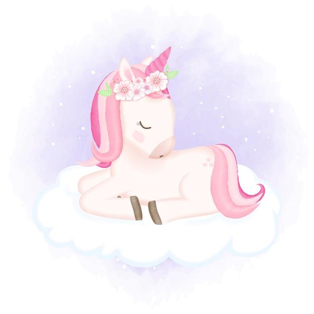 Baby unicorn спит на облаке рисованной иллюстрации Premium векторы