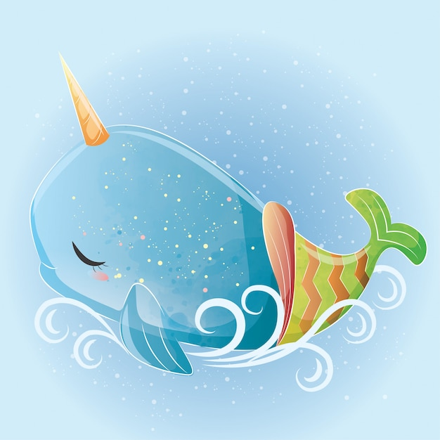 Baby whale unicorn mermaid Premium Vector