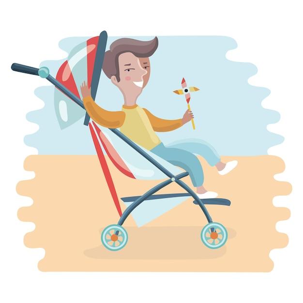 Baby with stroller Premium Vector
