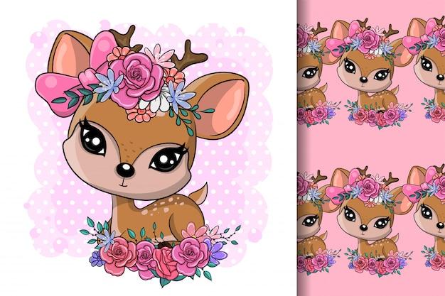 Милый мультфильм baby олень с цветами Premium векторы