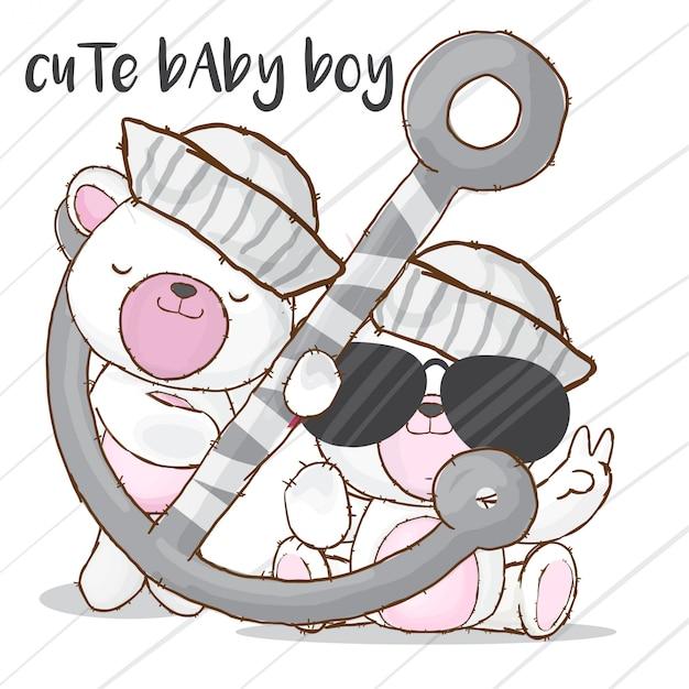 Baby моряк медведь рисованной животных вектор Premium векторы