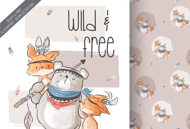 Симпатичные бохо baby животных иллюстрации бесшовный фон Premium векторы