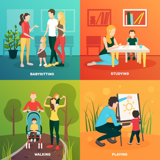 Babysitters people flat 2x2 design concept with colorful compositions of parents children and tender human characters Free Vector