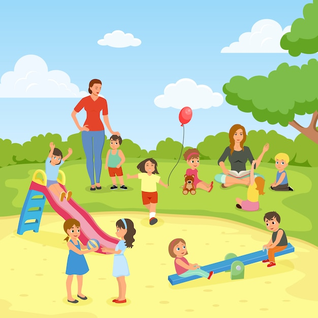 Babysitters with kids at the park Free Vector