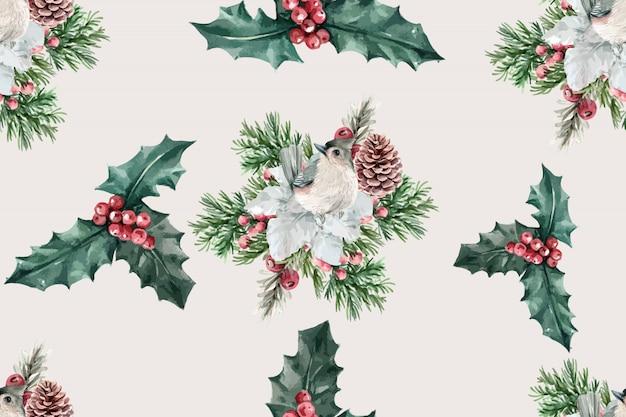 鳥、ヒイラギの果実、イチイ属baccataと冬の花のパターン 無料ベクター
