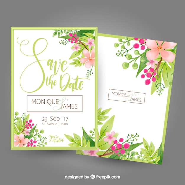 Bachelorette card with flowers and leaves Free Vector