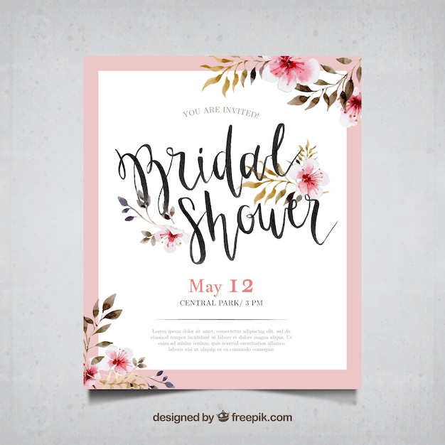 Bachelorette card with watercolor flowers Free Vector