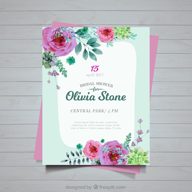 Bachelorette invitation of flowers painted with watercolor Free Vector