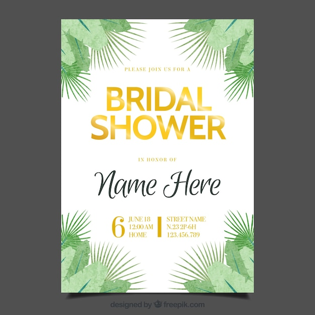 Bachelorette Invitation Template With Green Vegetation Vector  Free