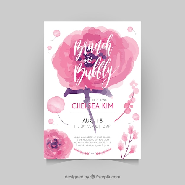 Bachelorette Invitation Template With Watercolor Flowers Vector