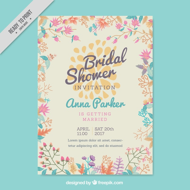 Bachelorette invitation with colored flowers in flat design Free Vector