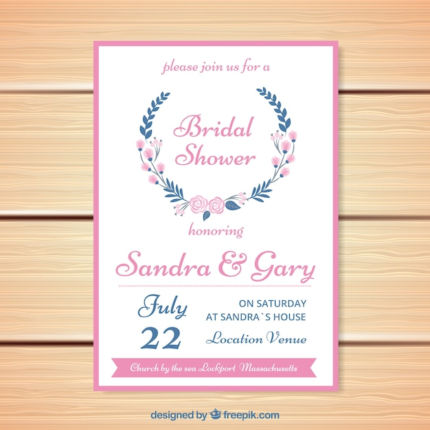 Bachelorette invitation with flowers and pink\ details