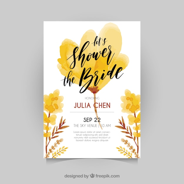 Bachelorette invitation with flowers in brown\ and yellow tones