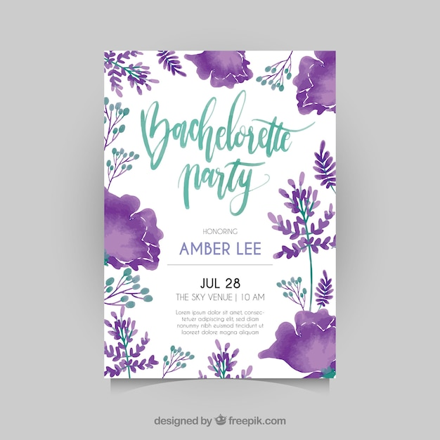 Bachelorette invitation with watercolor flowers Free Vector