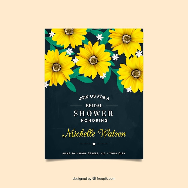 Bachelorette invitation with yellow flowers in\ realistic design