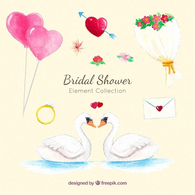 Bachelorette party watercolor decoration pack Free Vector