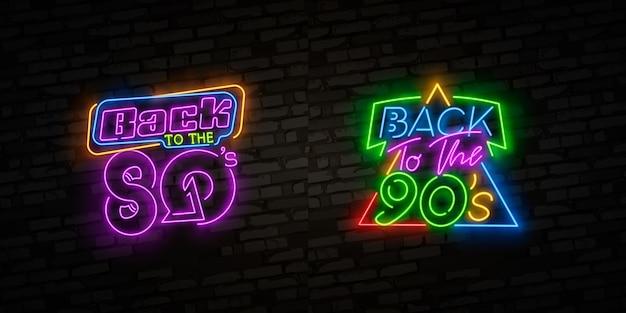 Back to 80's neon sign, emblem. Premium Vector
