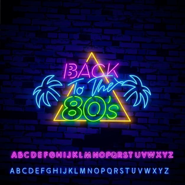 Back to 80's neon sign Premium Vector