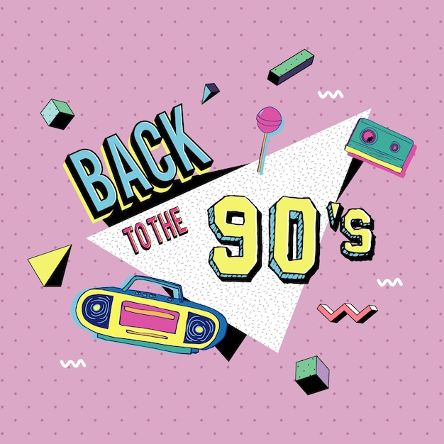 Back to the 90s memphis style Premium Vector