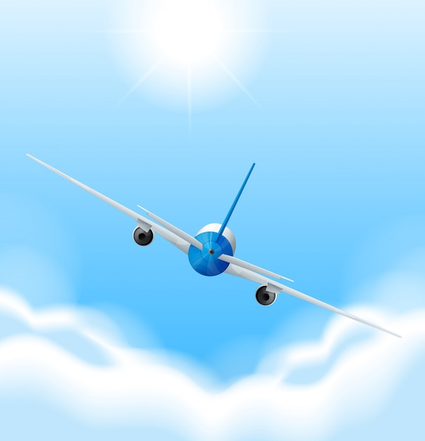 Back of airplane flying in the sky Free Vector