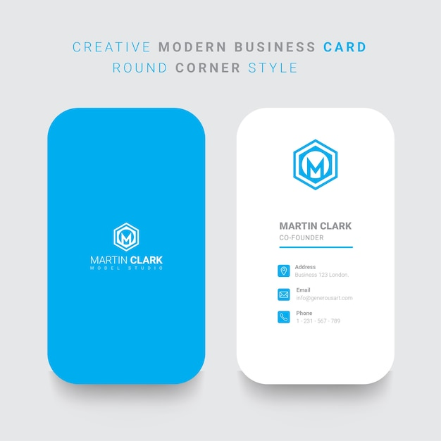 Back and front vertical business card with blue details vector back and front vertical business card with blue details premium vector reheart Gallery