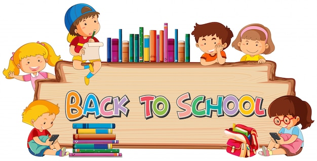 Back to chool template on wooden board Free Vector