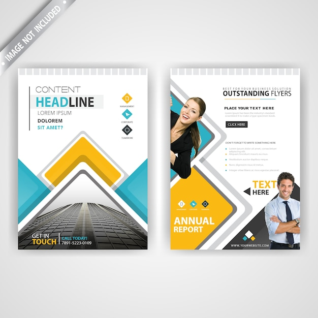Back and font yellow and blue flyer Free Vector