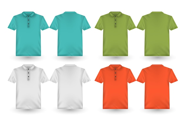 Back and front collection of polo shirts Free Vector