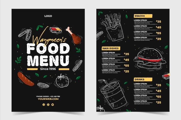 Back and front restaurant restaurant menu template Free Vector