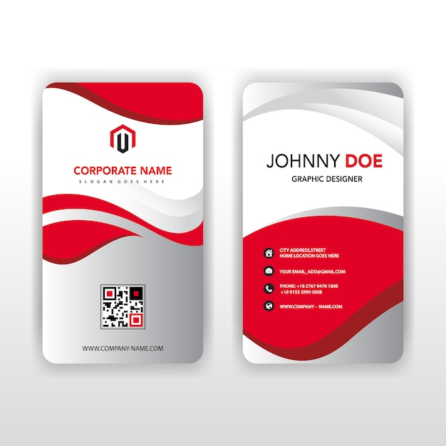 Back and front vertical business card.eps Free Vector