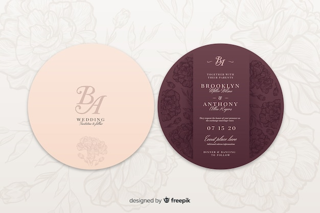 Back and front of a wedding invitation Free Vector