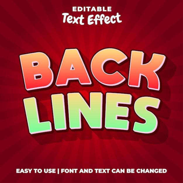 Back lines название игры редактируемый стиль текста Premium векторы