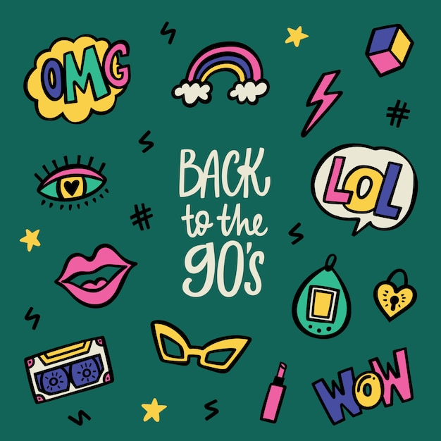 Back to the nineties lettering and doodle sticker set Premium Vector