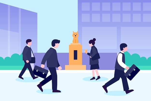 Back to office people walking outdoors Premium Vector