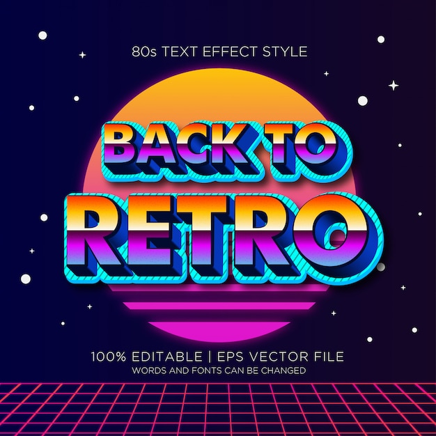 Back to retro 80s text effects Premium Vector