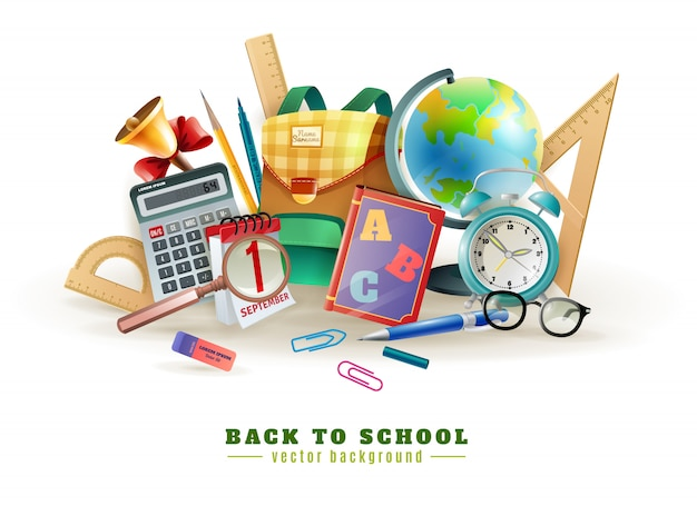 Back to school accessories composition poster Free Vector