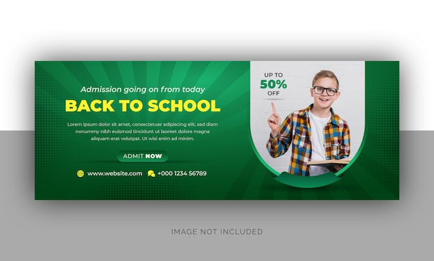 Back to school admission  timeline cover photo and web banner template design Premium Vector