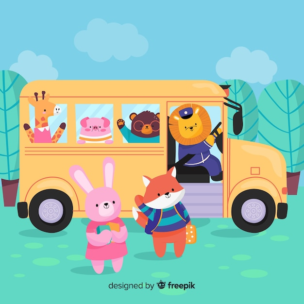 Back to school animal bus collection Free Vector